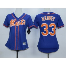 MLB New York Mets 33 Matt Harvey Alternate Blue With Gray Stitched Cool Base Women Jersey