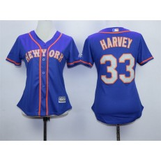 MLB New York Mets 33 Matt Harvey Blue With Gray Women Jersey