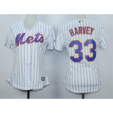 MLB New York Mets 33 Matt Harvey White With Blue Strip Women Jersey