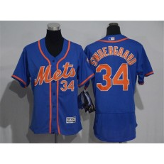 MLB New York Mets 34 Noah Syndergaard Blue With Orange 2016 Flexbase Stitched Baseball Women Jersey