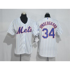 MLB New York Mets 34 Noah Syndergaard White With Blue Strip Women Jersey