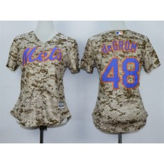 MLB New York Mets 48 Jacob deGrom 2015 Camo Women Jersey