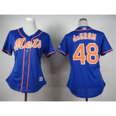 MLB New York Mets 48 Jacob deGrom Alternate Blue With Gray Stitched Cool Base Women Jersey
