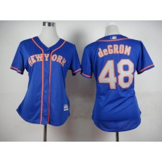 MLB New York Mets 48 Jacob deGrom Blue With Gray Women Jersey