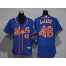 MLB New York Mets 48 Jacob deGrom Blue With Orange 2016 Flexbase Stitched Baseball Women Jersey