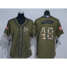 MLB New York Mets 48 Jacob deGrom Green Salute to Service Majestic Baseball Women Jersey