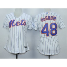 MLB New York Mets 48 Jacob deGrom White With Blue Strip Women Jersey