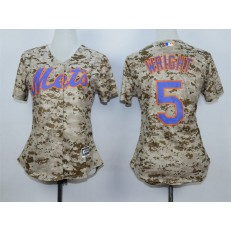 MLB New York Mets 5 David Wright 2015 Camo Women Jersey