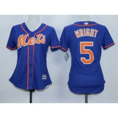 MLB New York Mets 5 David Wright Alternate Blue With Gray Stitched Cool Base Women Jersey
