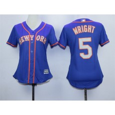 MLB New York Mets 5 David Wright Blue With Gray Women Jersey