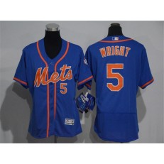 MLB New York Mets 5 David Wright Blue With Orange 2016 Flexbase Stitched Baseball Women Jersey