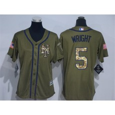 MLB New York Mets 5 David Wright Green Salute to Service Majestic Baseball Women Jersey
