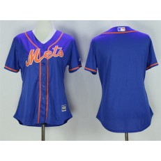 MLB New York Mets Blank Alternate Blue With Gray Stitched Cool Base Women Jersey