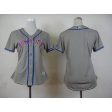 MLB New York Mets Blank Away Gray 2015 Cool Base Women Jersey