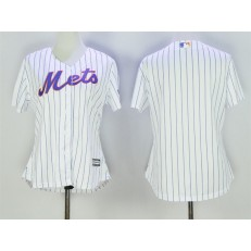 MLB New York Mets Blank White With Blue Strip Women Jersey