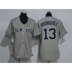 MLB New York Yankees 13 Alex Rodriguez Grey Road Stitched Women Jersey