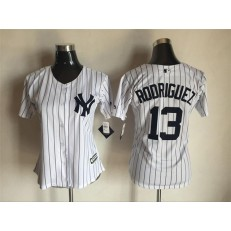 MLB New York Yankees 13 Alex Rodriguez White Strip Fashion Stitched Baseball Women Jersey