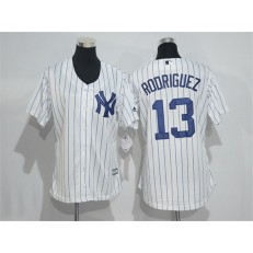 MLB New York Yankees 13 Alex Rodriguez White Strip Home Stitched Women Jersey
