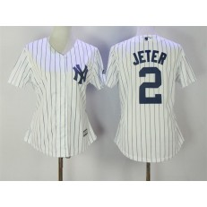 MLB New York Yankees 2 Derek Jeter White Strip Fashion Stitched Baseball Women Jersey