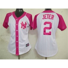 MLB New York Yankees 2 Derek Jeter White-Pink Splash Fashion Embroidered Women Jersey
