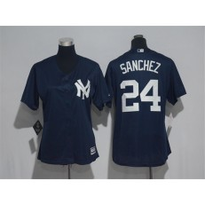 MLB New York Yankees 24 Gary Sanchez Navy Cool Base Women Jersey