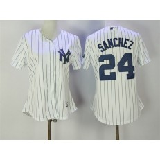 MLB New York Yankees 24 Gary Sanchez White Strip Fashion Stitched Baseball Women Jersey