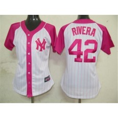 MLB New York Yankees 42 Mariano Rivera White-Pink Splash Fashion Embroidered Women Jersey