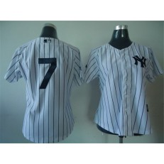 MLB New York Yankees 7 Mickey Mantle White Women Jersey