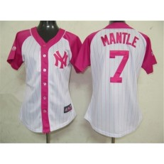 MLB New York Yankees 7 Mickey Mantle White-Pink Splash Fashion Embroidered Women Jersey