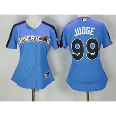 MLB New York Yankees 99 Aaron Judge Blue 2017 All-Star American League Stitched Women Jersey