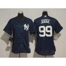 MLB New York Yankees 99 Aaron Judge Navy Cool Base Women Jersey