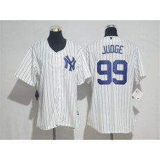 MLB New York Yankees 99 Aaron Judge White Strip Home Stitched Women Jersey