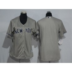 MLB New York Yankees Blank Grey Road Stitched Women Jersey