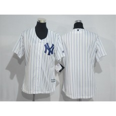 MLB New York Yankees Blank White Strip Home Stitched Women Jersey