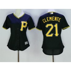 MLB Pittsburgh Pirates 21 Roberto Clemente Black Alternate Stitched Women Jersey