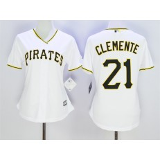 MLB Pittsburgh Pirates 21 Roberto Clemente White 2015 Cool Base Women Jersey