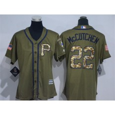 MLB Pittsburgh Pirates 22 Andrew McCutchen Green Salute to Service Majestic Baseball Women Jersey