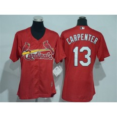 MLB St.Louis Cardinals 13 Matt Carpenter Red Cool Base Baseball Women Jersey
