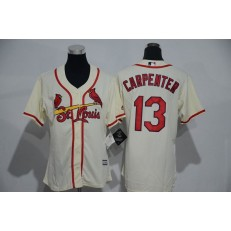 MLB St.Louis Cardinals 13 Matt Carpenter Retired Cream Cool Base Baseball Women Jersey