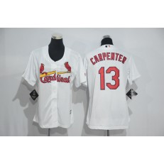 MLB St.Louis Cardinals 13 Matt Carpenter White Home Stitched Women Jersey