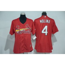 MLB St.Louis Cardinals 4 Yadier Molina Red Cool Base Baseball Women Jersey