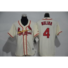 MLB St.Louis Cardinals 4 Yadier Molina Retired Cream Cool Base Baseball Women Jersey