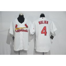 MLB St.Louis Cardinals 4 Yadier Molina White Home Stitched Women Jersey