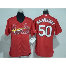 MLB St.Louis Cardinals 50 Adam Wainwright Red Cool Base Baseball Women Jersey