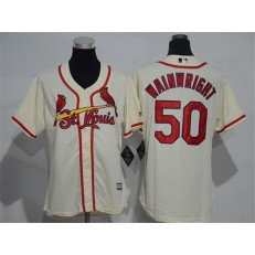 MLB St.Louis Cardinals 50 Adam Wainwright Retired Cream Cool Base Baseball Women Jersey