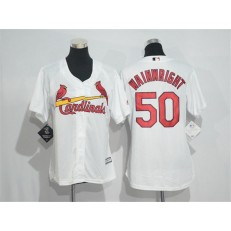MLB St.Louis Cardinals 50 Adam Wainwright White Home Stitched Women Jersey