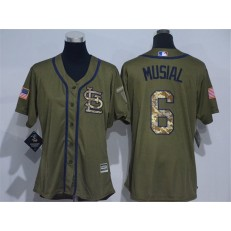 MLB St.Louis Cardinals 6 Stan Musial Green Salute to Service Majestic Baseball Women Jersey