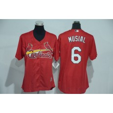 MLB St.Louis Cardinals 6 Stan Musial Red Cool Base Baseball Women Jersey