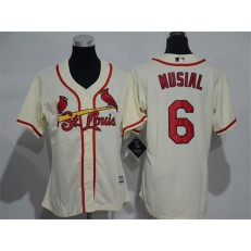 MLB St.Louis Cardinals 6 Stan Musial Retired Cream Cool Base Baseball Women Jersey