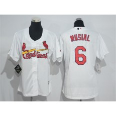 MLB St.Louis Cardinals 6 Stan Musial White Home Stitched Women Jersey